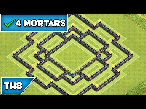 Clash of clans th8 anti hog giant trophy base replay merry go