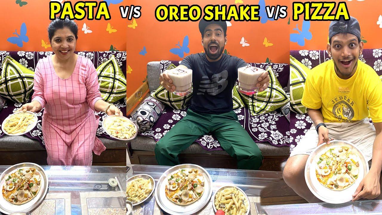 Pizza v/s Pasta v/s Oreo Shake Challenge - Who Wins??