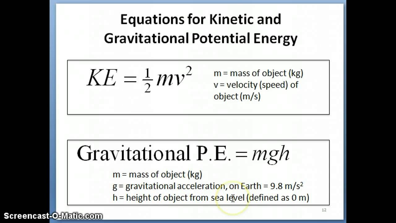 Example of calculation using Kinetic Energy equation - YouTube Gravitational Potential Energy Formula