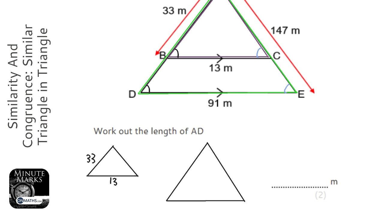 Similarity And Congruence: Similar Triangle in Triangle (Find Larger) (Grade 5) - Maths Revision