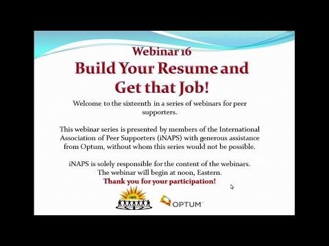 iNAPS Webinar #16 - Build Your Resume and Get that Job!