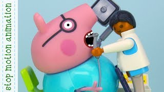 The Dentist Peppa Pig tv toys stop motion animation in english