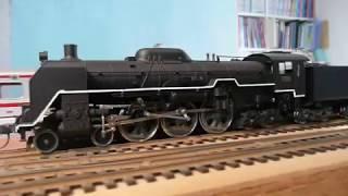 HO_模型_C61発車_荷物列車。バンブー商会のSLサウンド装備。