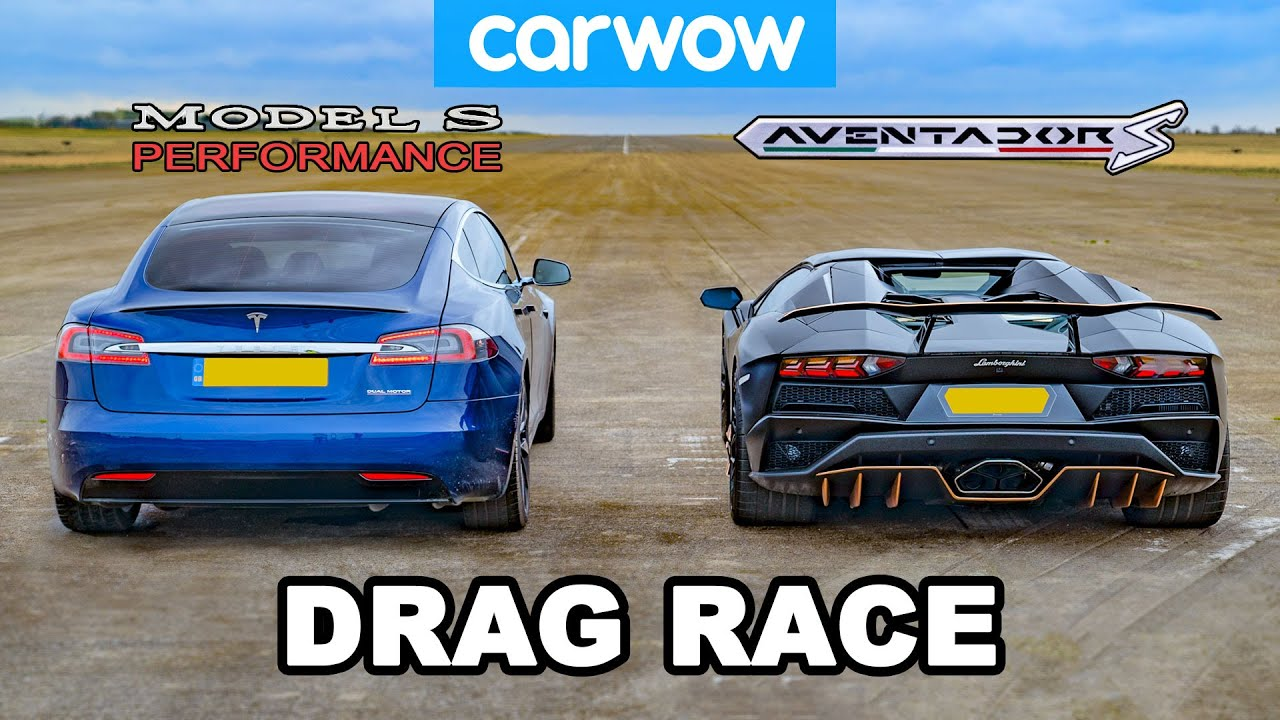 Lamborghini Aventador vs NEW Tesla Model S Performance: DRAG RACE!