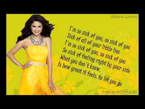 Selena Gomez - Sick of you - lyrics on screen
