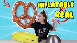 REAL VS INFLATABLE FOOD CHALLENGE!!