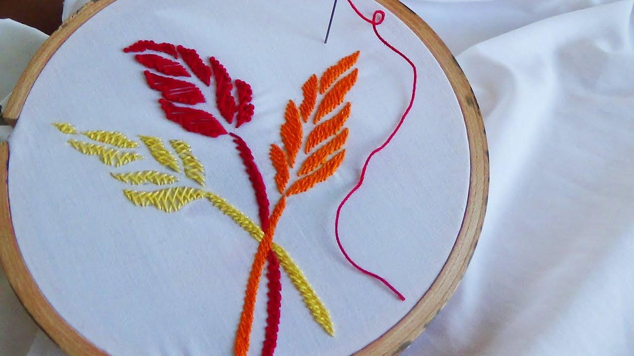 Hand embroidery leaf polin knot herringbone