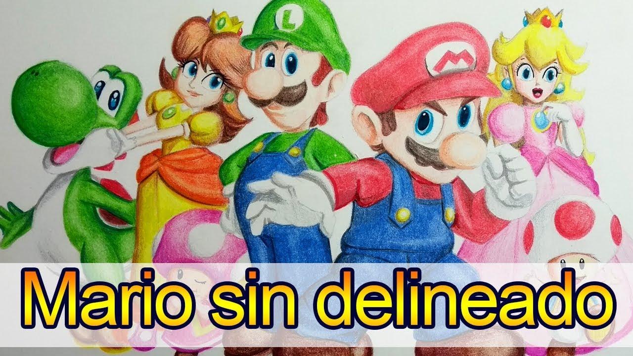 Dibujo Sin Delineado Mario Bros Y Sus Amigos Artgio Youtube