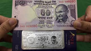RSBL 50gm & 100gm 999 Silver Note + Currency Comparison   Review By Varun Kumar   CoinBazaar India
