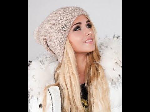 шапка спицами мода 2018вязаная шапка для женщинмодная шапка Youtube