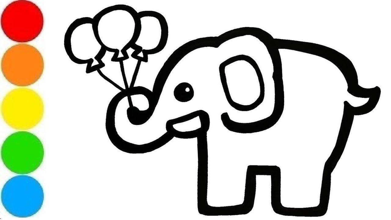 Coloring Pages Como Desenhar Um Elefante Glitter Pintura E