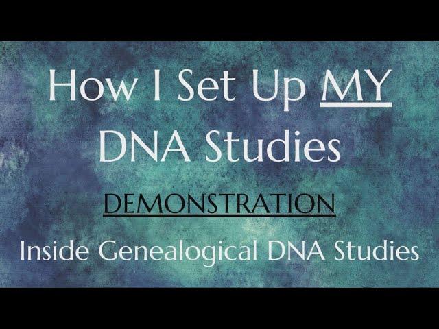 How I Set Up MY DNA Studies
