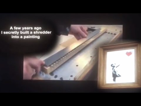 😮 Banksy Shredded Girl with Balloon Painting Shocks Bidders