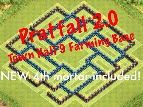 Clash of clans 4 mortars town hall 9 farming base pratfall 2 0 is