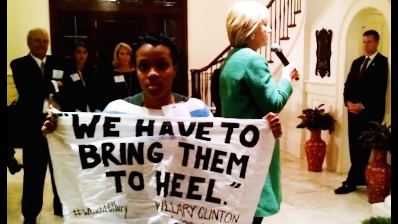 protestor confronts hillary clinton for calling black