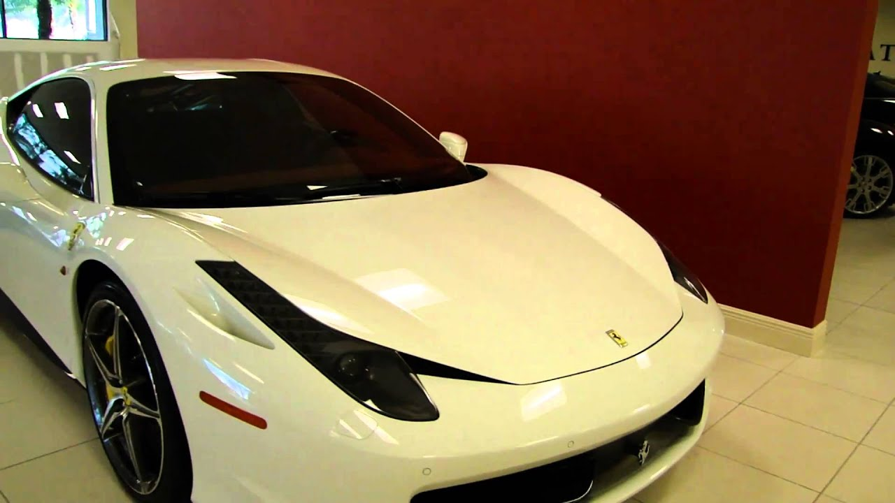 White ferrari 458 italia with red interior youtube for White maserati red interior