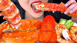 ASMR KING CRAB LEGS SEAFOOD BOIL with BUTTER SAUCE (NO TALKING) Eating Seafood