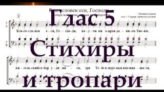 Глас 5 стихиры и тропари
