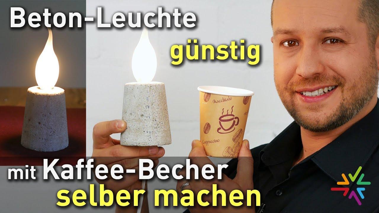 Betonlampe mit Kaffee Becher günstig selber machen DIY | Beton Leuchte Anleitung | Geschenkidee