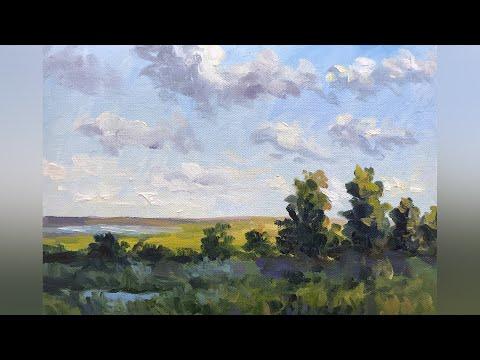 Простой пейзаж масляными красками. Мастер-класс для начинающих художников. Татьяна Зубова