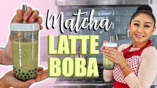 ICED MATCHA LATTE WITH BOBA | HOMEMADE BUBBLE TEA!