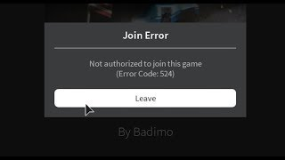 how to get the error (not authorized join the game) of roblox, well explained