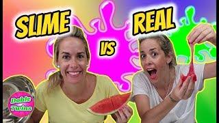 SLIME VS REAL FOOD CHALLENGE | SLIME VS REALIDAD | Doble Twins