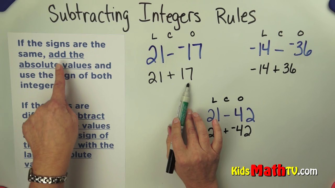 small resolution of Rules for subtracting integers 7th grade tutorials - YouTube