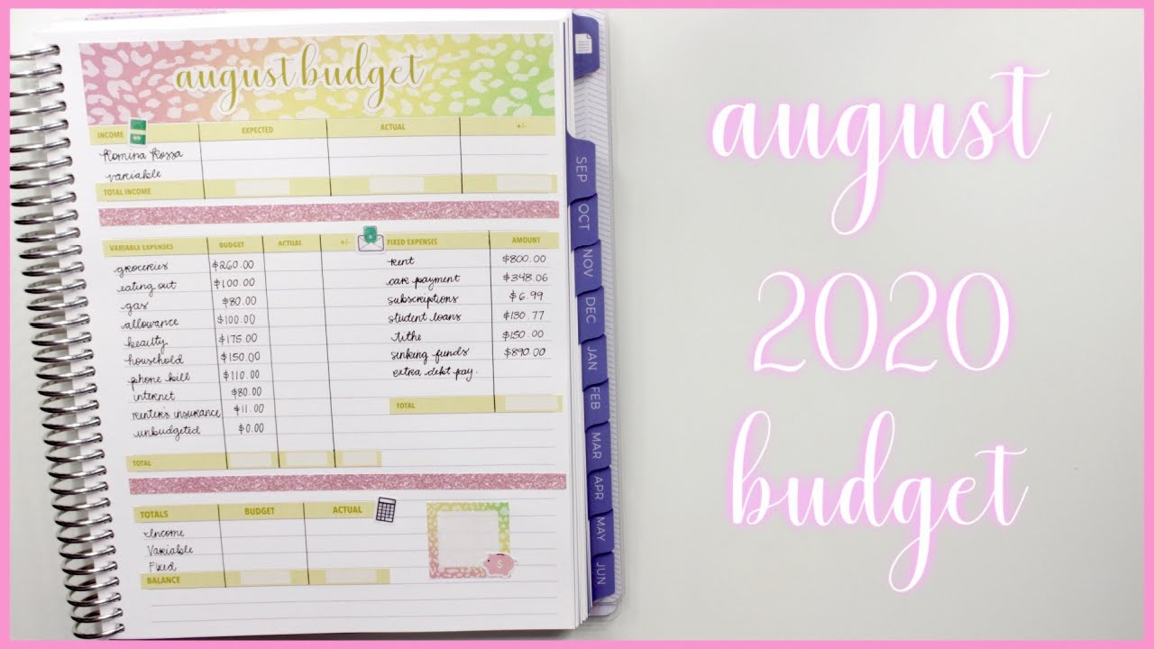 Budget with Me: August 2020 Monthly Budget - Plum Paper Monthly Planner   Romina Vasquez