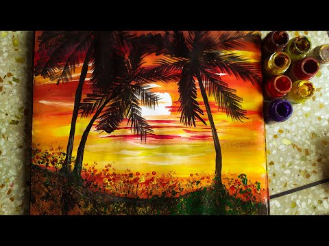 How to paint landscape with just one brush !! / Acrylic landscape painting/