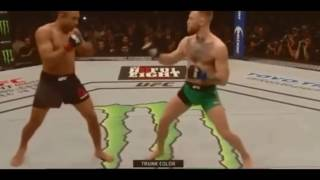 Conor McGregor drilling the same punch he finished Aldo with in locker room