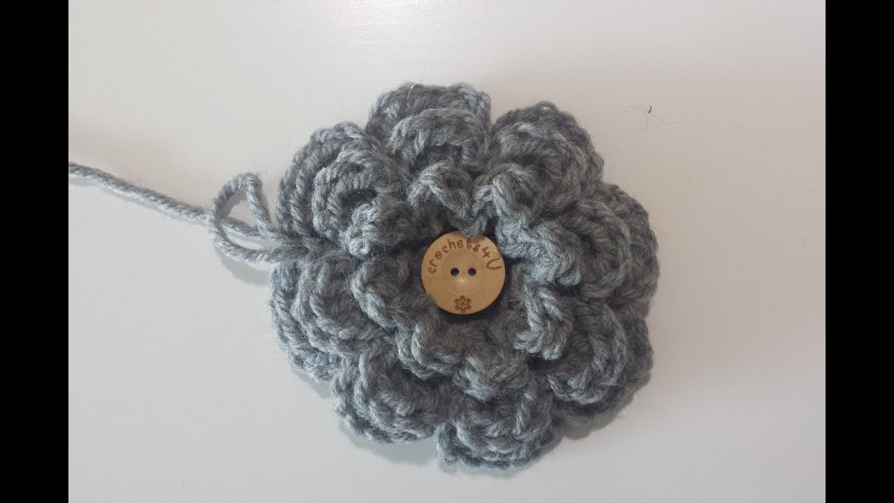 bloem haken / crochet flower - YouTube