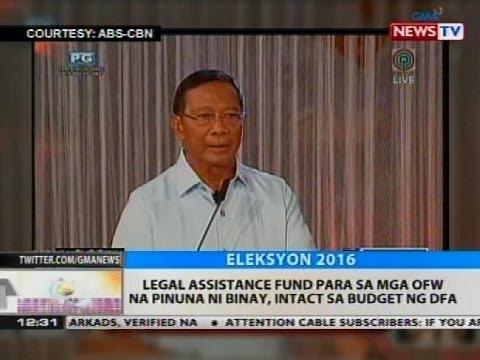 Legal assistance fund para sa mga OFW na pinuna ni Binay, intact sa budget ng DFA