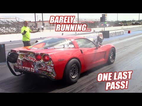The Auction Corvette Attempts an 8 SECOND PASS With a BLOWN ENGINE! (Caught Fire)