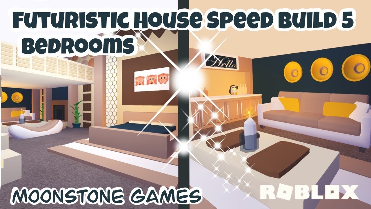 Adopt Me Futuristic House Speed Build Part 5 Bedrooms Aesthetic Home Youtube