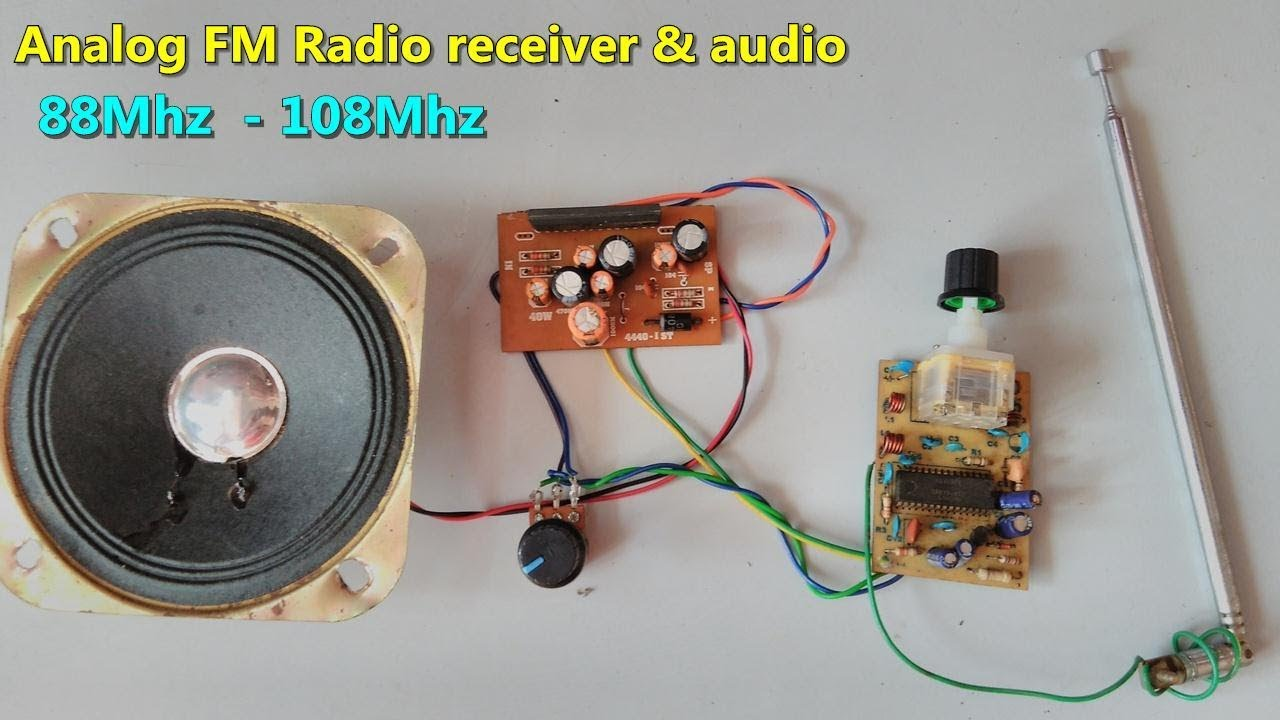 analog fm radio receiver with audio amplifier 88 mhz to 108 mhz how to make [ 1280 x 720 Pixel ]