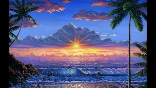 cara melukis pantai saat matahari terbenam dengan menggunakan cat akrilik di atas kanvas