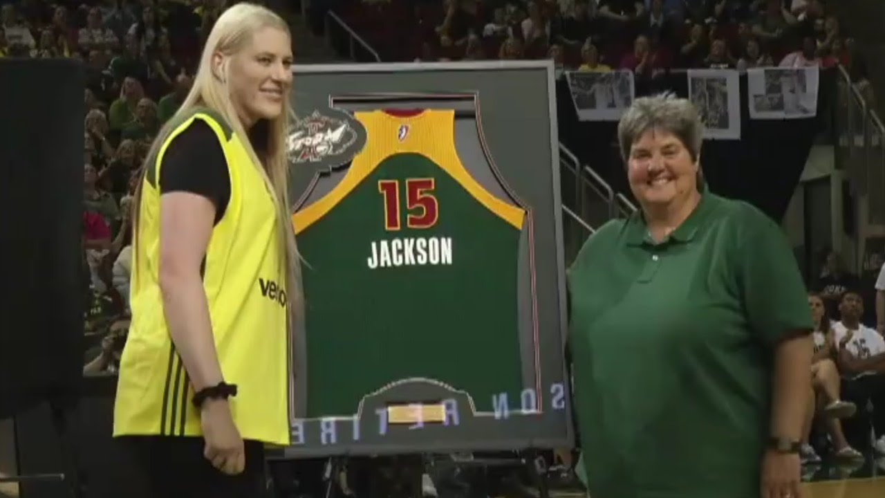 b184f8fa9 Lauren Jackson s jersey retirement ceremony by WNBA Seattle Storm ...