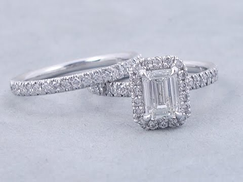 1 63 Ctw Emerald Cut Diamond Engagement Ring And Wedding Band Set Diamondsusa