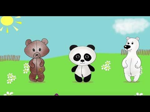 Три медведя. Три медвежонка прыгали в саду. Развивающий мультфильм потешка.