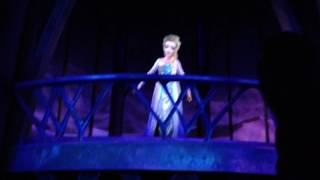 Elsa animatronic singing Let It Go on the Frozen Ever After ride at EPCOT