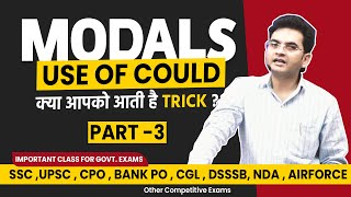 Modal Verbs | Concept & Use of Could in English Grammar by Dharmendra Sir | For SSC CGL/BANK/UPSC