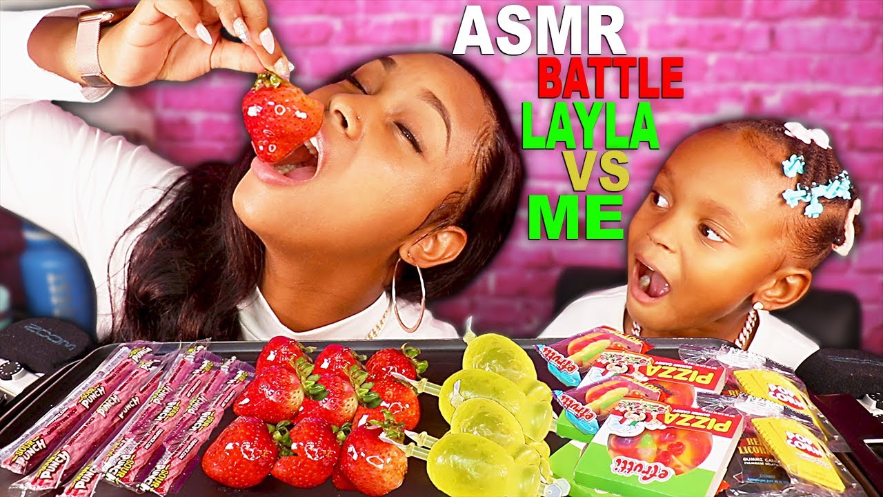 ASMR CANDIED FRUITS TANGHULU TIKTOK GUMMY FOOD CHALLENGE MUKBANG 먹방 | QUEEN BEAST VS LAYLA