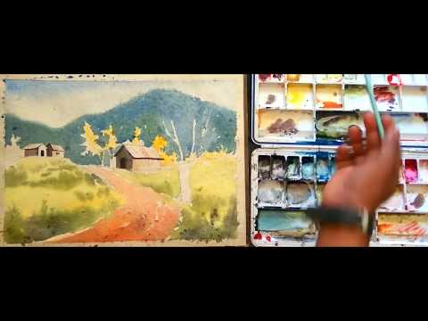 landscape with watercolor: watercolor landscape speed painting