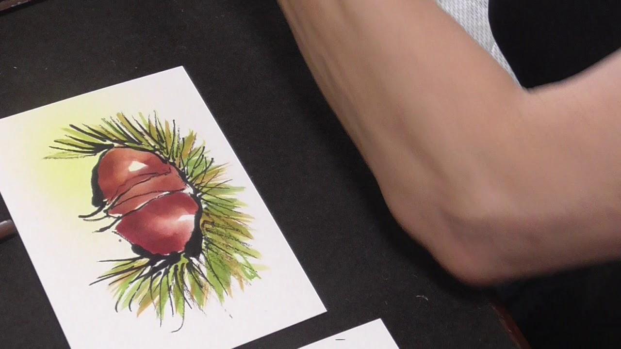 絵手紙門 楽しく簡単に四季を描こう 栗とぶどう Youtube