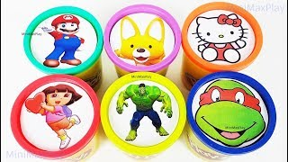 Learn Colors Play Doh Cups Surprise Toys for Kids Hulk Super Mario Dora Pororo TMNT Rhymes