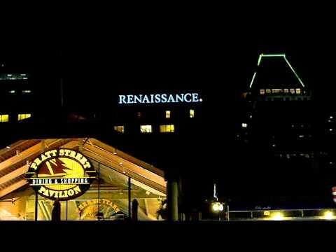 Baltimore's Pratt Street Pavilion & Renaissance Signs at Night