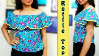 Off Shoulder Ruffle Top Cutting & Stitching | How to make Ruffle Top
