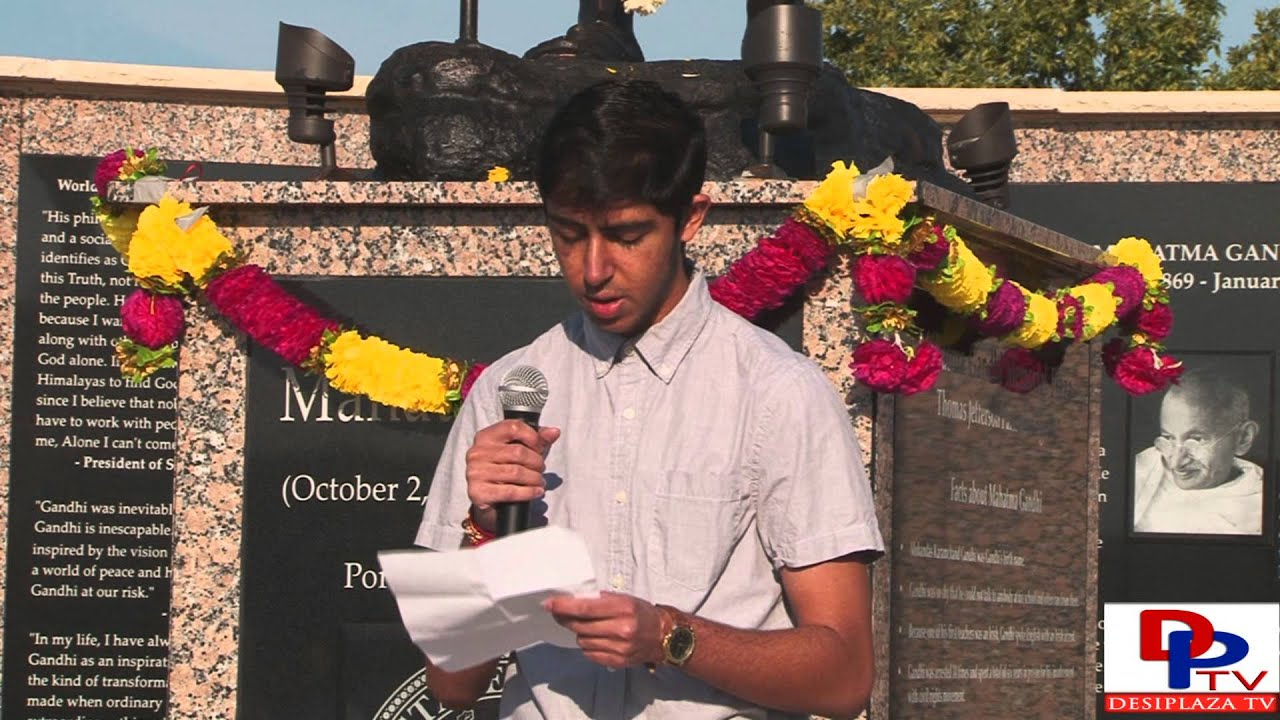 Mr.Neil Patel, Marcus Senior High School student  speaking at Gandhi Jayanti Celebration a