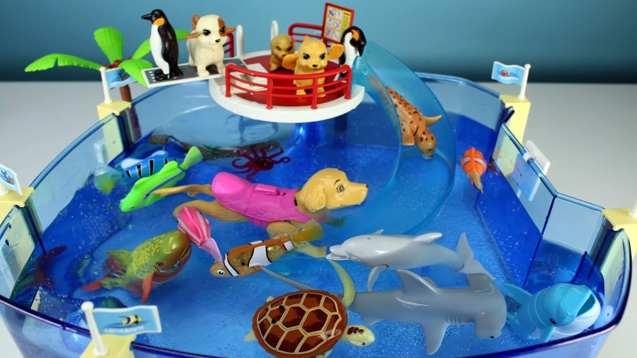 Sea Animals Toys And Swimming Puppies In The Playmobil Pool Slide   Learn  Sea Animal Names For Kids